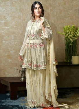 Embroidered Work Faux Georgette Sharara Salwar Kameez