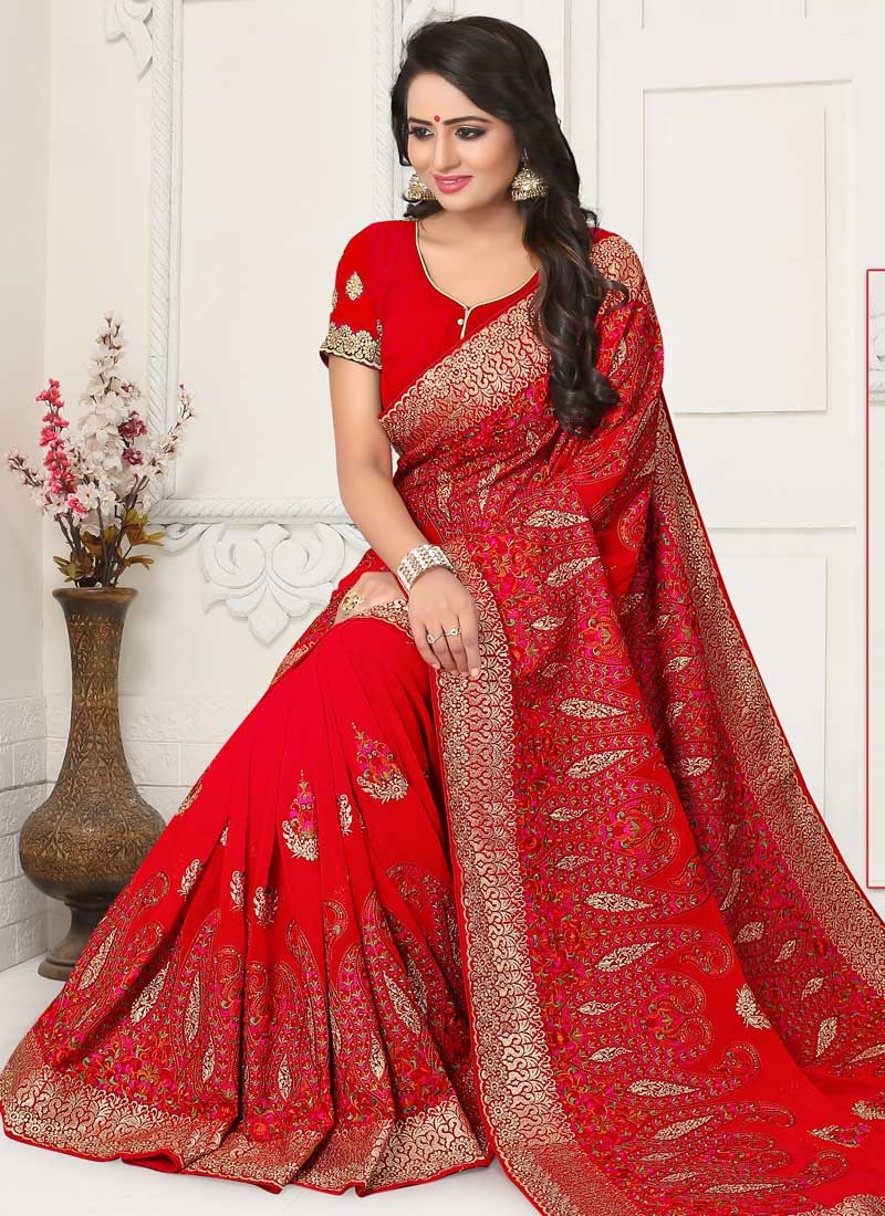 Embroidered Work Faux Georgette Trendy Classic Saree