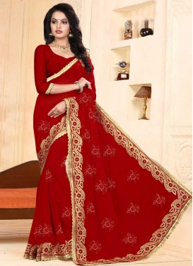 Embroidered Work Faux Georgette Trendy Classic Saree For Party