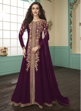 Embroidered Work Faux Georgette Trendy Designer Salwar Kameez