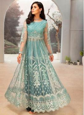 Embroidered Work Faux Georgette Trendy Designer Salwar Kameez
