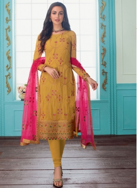 Embroidered Work Faux Georgette Trendy Straight Salwar Kameez