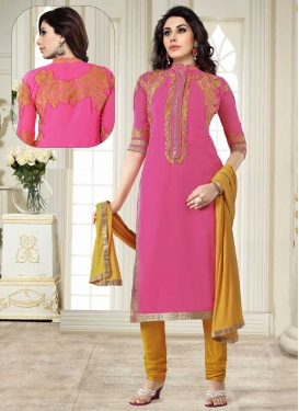 Embroidered Work Faux Georgette Trendy Straight Suit