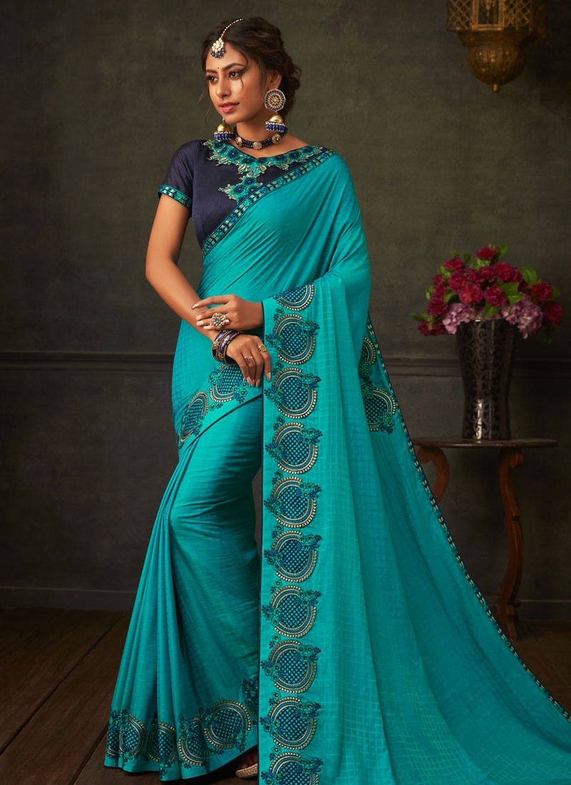 Embroidered Work Firozi and Navy Blue Designer Contemporary Style Saree