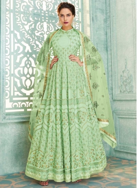 Embroidered Work Floor Length Anarkali Suit For Festival