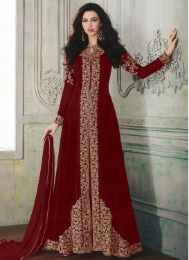 Embroidered Work Floor Length Designer Suit