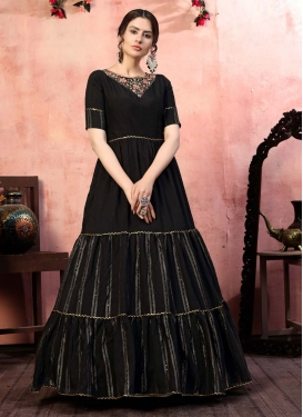 Embroidered Work Floor Length Gown For Ceremonial