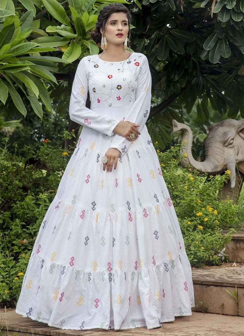Embroidered Work Floor Length Trendy Gown