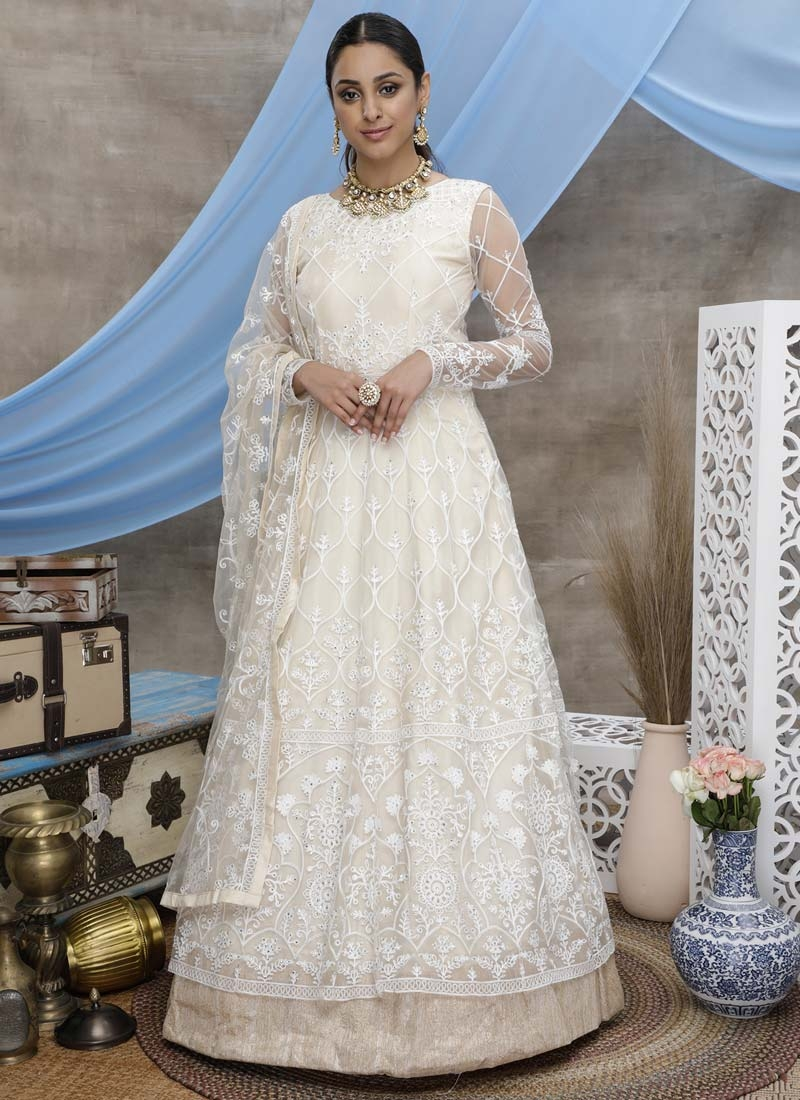 Embroidered Work Floor Length Trendy Gown For Festival