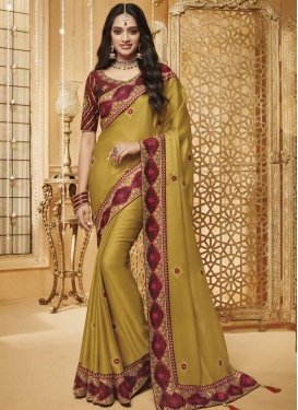Embroidered Work Gold and Maroon Traditional Designer Saree