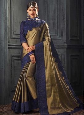 Embroidered Work Gold and Navy Blue Designer Contemporary Style Saree