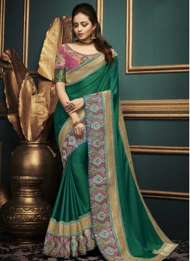Embroidered Work Green and Hot Pink Traditional Designer Saree