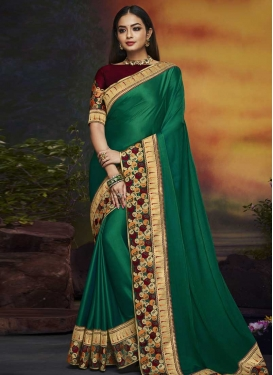 Embroidered Work Green and Maroon Trendy Saree