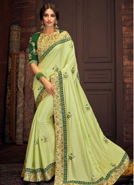 Embroidered Work Green and Mint Green Designer Contemporary Saree