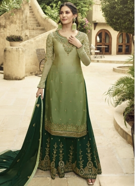 Embroidered Work Green and Olive Faux Georgette Palazzo Style Pakistani Salwar Kameez