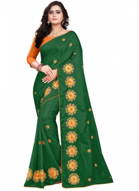 Embroidered Work Green and Orange Designer Contemporary Style Saree