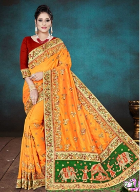 Embroidered Work Green and Orange Traditional Designer Saree