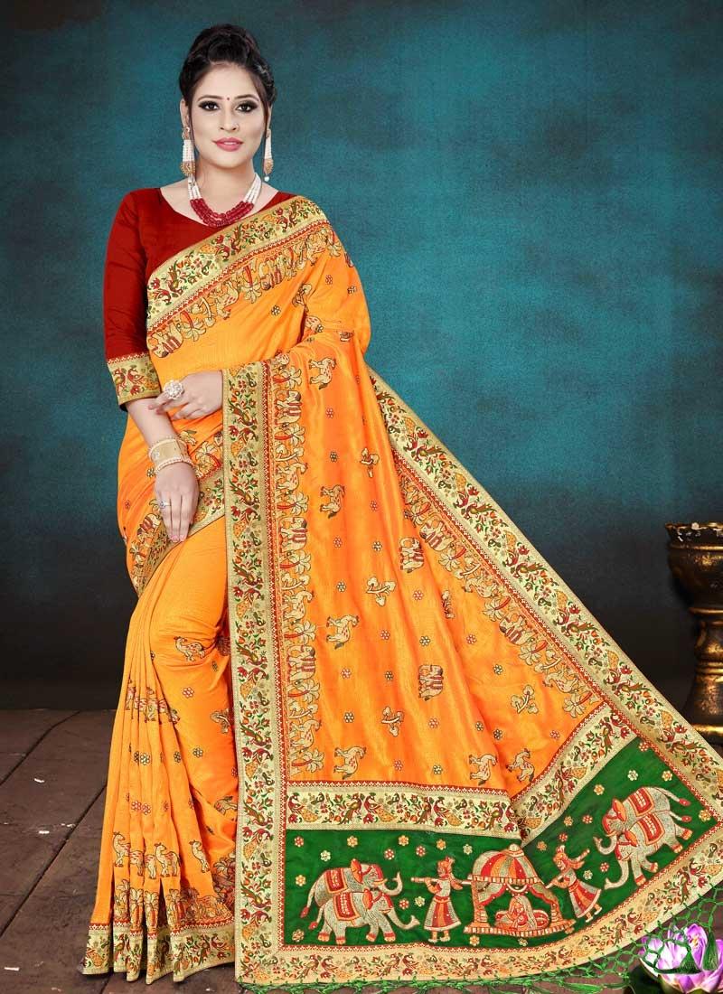 Embroidered Work Green and Orange Traditional Designer Saree