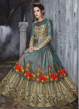 Embroidered Work Green and Peach Long Length Designer Anarkali Suit