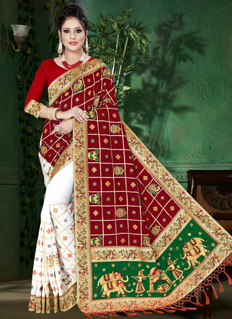 Embroidered Work Green and Red Half N Half Saree