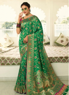 Embroidered Work Green and Rose Pink Designer Contemporary Saree