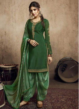 Embroidered Work Green and Sea Green Crepe Silk Trendy Straight Salwar Suit