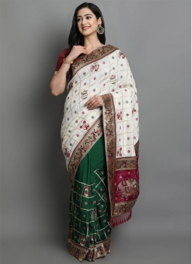 Embroidered Work Green and White Half N Half Saree