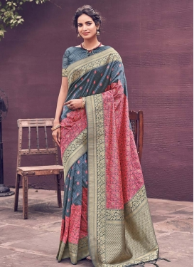 Embroidered Work Grey and Hot Pink Designer Contemporary Saree