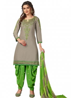 Embroidered Work Grey and Mint Green Designer Semi Patiala Salwar Suit