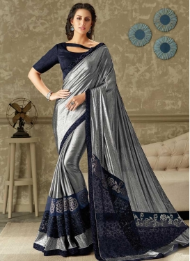 Embroidered Work Grey and Navy Blue Classic Designer Saree