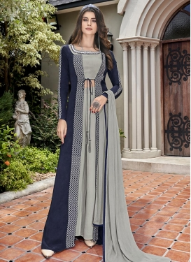 Embroidered Work Grey and Navy Blue Crepe Silk Jacket Style Floor Length Suit