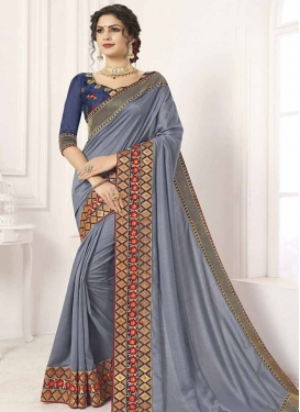 Embroidered Work Grey and Navy Blue Designer Contemporary Style Saree