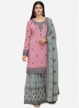 Embroidered Work Grey and Pink Faux Georgette Sharara Salwar Kameez