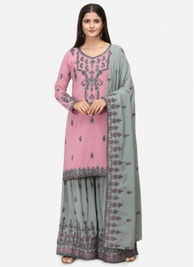 Embroidered Work Grey and Pink Faux Georgette Sharara Salwar Suit