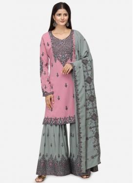 Embroidered Work Grey and Pink Sharara Salwar Kameez
