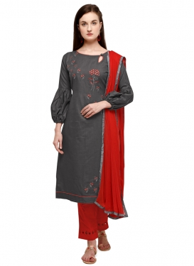 Embroidered Work Grey and Red Cotton Pant Style Classic Suit