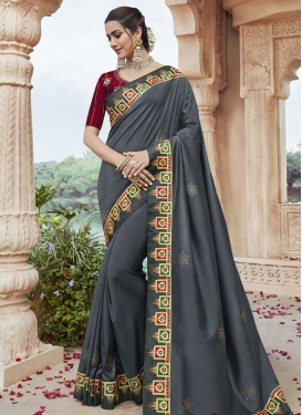 Embroidered Work Grey and Red Trendy Classic Saree