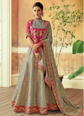 Embroidered Work Grey and Rose Pink Trendy Designer Lehenga Choli