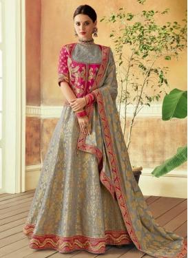 Embroidered Work Grey and Rose Pink Trendy Designer Lehenga Choli