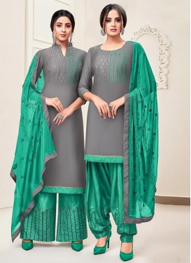 Embroidered Work Grey and Sea Green Trendy Straight Salwar Suit