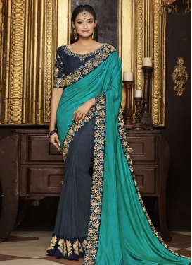 Embroidered Work Grey and Turquoise Half N Half Saree