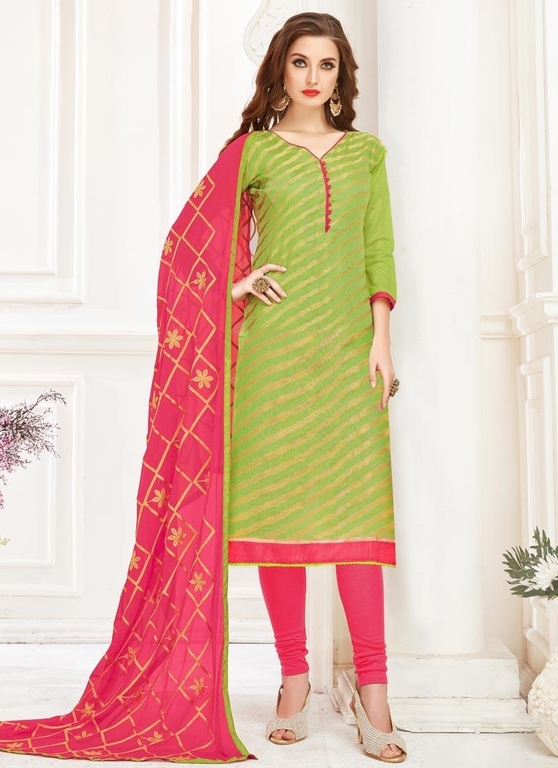 Embroidered Work Hot Pink and Mint Green Cotton Churidar Salwar Kameez