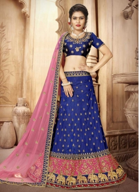 Embroidered Work Hot Pink and Navy Blue Art Silk Trendy Lehenga Choli