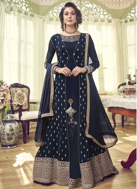 Embroidered Work Jacket Style Anarkali Suit