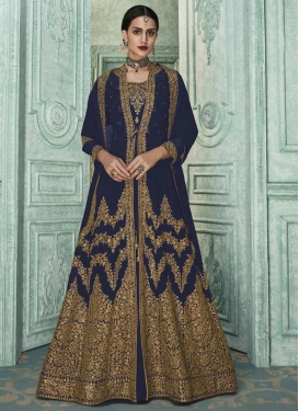 Embroidered Work Jacket Style Floor Length Suit