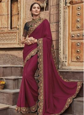 Embroidered Work Jacquard Silk Designer Contemporary Style Saree