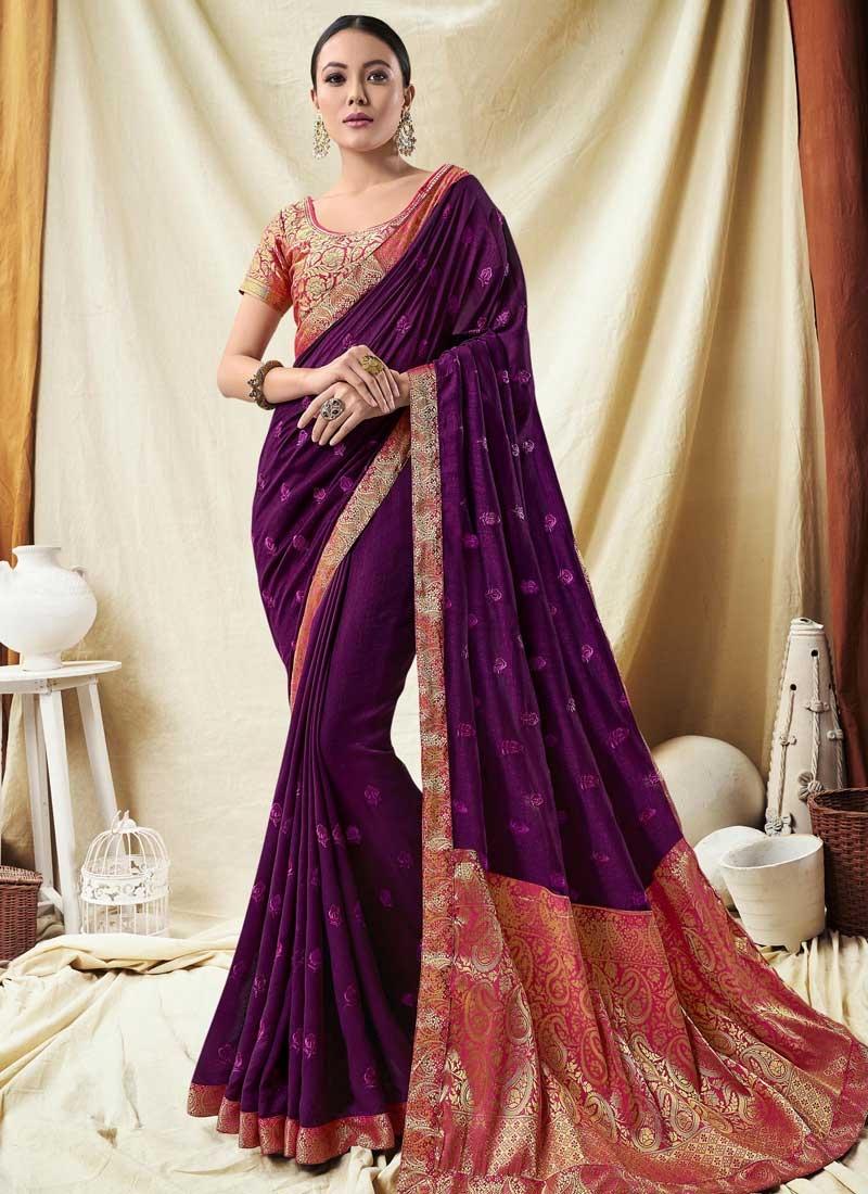 Embroidered Work Jacquard Silk Designer Traditional Saree