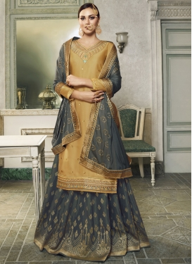 Embroidered Work Jacquard Silk Gold and Grey Kameez Style Lehenga