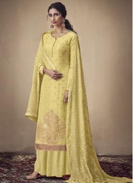 Embroidered Work Jacquard Silk Palazzo Style Pakistani Salwar Kameez