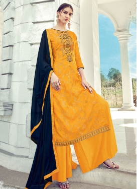 Embroidered Work Jacquard Silk Palazzo Style Pakistani Salwar Suit